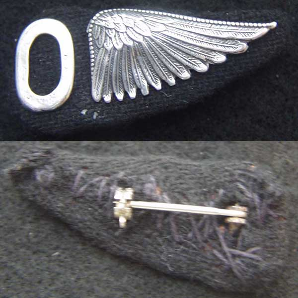 WWI Observer 1/2 Wing Sterling on Cloth WWI, WWI Observer Wing, Observer Wing, Sterling wing, Silver wing