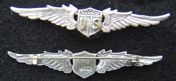 WWI US Pilot Wing Sterling 2 1/4 inch WWI, WWI Pilot, Pilot Wings, Sterling Wings, Silver Wings