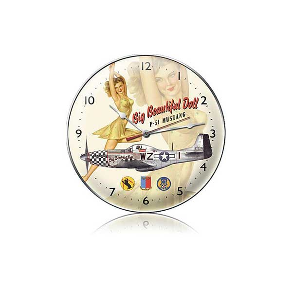 "P-51 Mustang Big Beautiful Doll Clock  (14"" dia.)"
